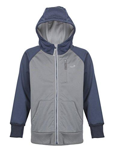 Boys Fleece Hood - Therm Softshell Boys Rain Jacket - Waterproof All-Weather Hoodie Raincoat (12, Navy Grey)