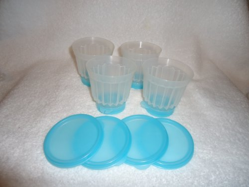 Tupperware Set of 4 Individual Single Serve Jello Molds in Aqua (Single Serve Tupperware compare prices)