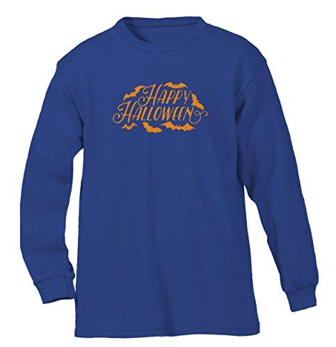Happy Halloween Bats Men's Long Sleeve Shirt, SpiritForged Apparel, Royal 3XL (Spirit Halloween Sf)