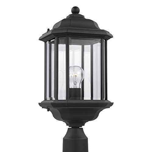 Glass Fixture Light Beveled Clear - Sea Gull Lighting 82029-12 Kent One-Light Outdoor Post Lantern with Clear Beveled Glass Panels, Black Finish