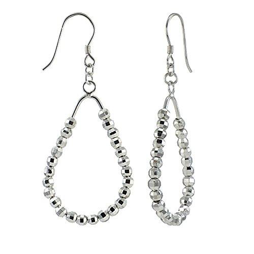 [Sterling Silver Diamond-Cut Sliding Beads Teardrop Dangle Earrings] (Diamond Cut Teardrop Beads)