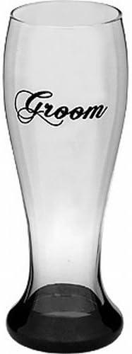 Bottom's Up 22 oz Groom Handpainted Pilsner Beer Glass