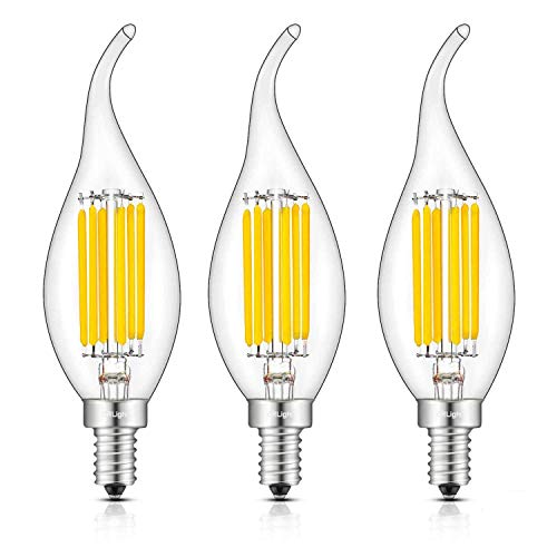CRLight 6W 3200K 700LM Dimmable LED Candelabra Bulb Soft White, 70W Equivalent E12 Base LED Candle Bulbs, C35 Clear Glass Flame Shape Bent Tip, 360 Degrees Beam Angle, Pack of 3