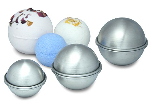 Stainless Steel Bath Bomb Molds, 3 set, Small, Medium, Large, 6 Professional Heavy Duty Dent Proof Round Half Sphere Shape Metal Moulds Kit for Homemade DIY Bath Fizzy using your Own Recipe -