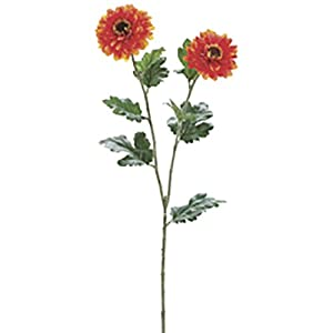 "31"" Zinnia Silk Flower Stem -Orange (Pack of 12) 64"