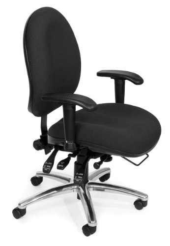 OFM 24-Hour Ergonomic Upholstered Task Chair with Arms, Black by OFM
