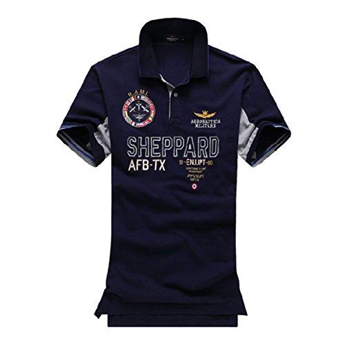 メンズ ポロシャツ 半袖 Tシャツカジュアル 紳士ポーツゴルフ シャツおしゃれ 2018人気新品3カラー (ネイビー, L)