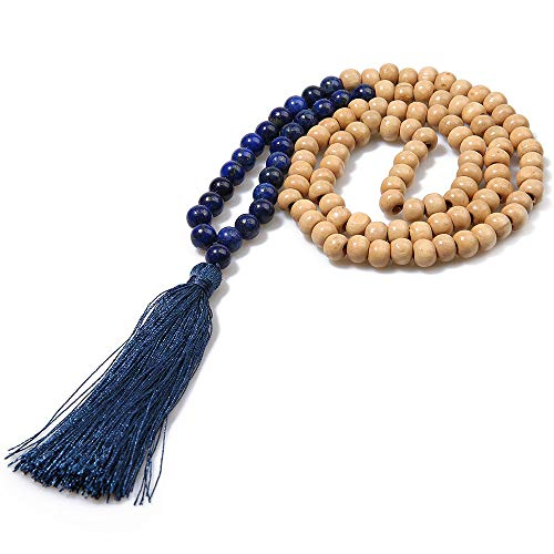 BALIBALI 8MM Semi-Precious Gem Stones Wood Mala Bead Necklace Multicolor Tassel Charms Chain Necklace Handmade Beaded Pendant Necklace for Women Men