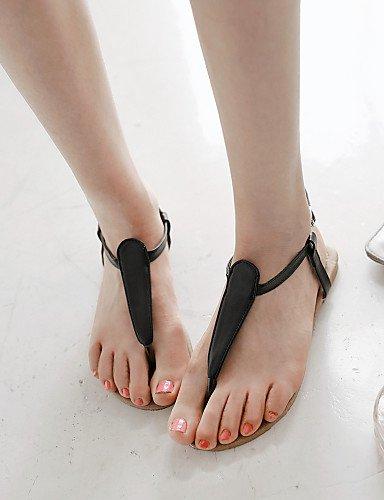 Beige mujer Negro Vestido Talón Comfort Zapatos Plano Tacón Semicuero de Blanco White Casual Sandalias Descubierto LFNLYX 6fEq1SwnS