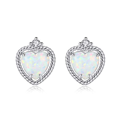 VIKI LYNN Created Opal Stud Earrings for Women Sterling Silver Heart Shape