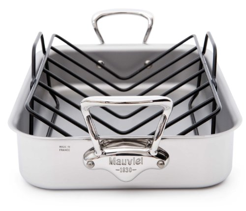 Mauviel Made In France M'Cook 5 Ply Stainless Steel 5217.15 15.7 by 11.8-Inch Rectangular Roasting Pan and Rack with Cast Stainless Steel Handles by Mauviel