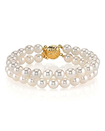 14K Gold Double Japanese Akoya Saltwater White Cultured Pearl Bracelet