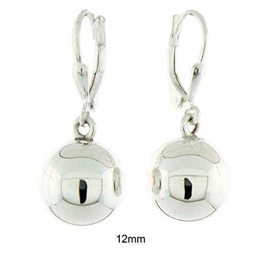Sterling Silver High Polished Ball Leverback Dangling Earrings, 12mm