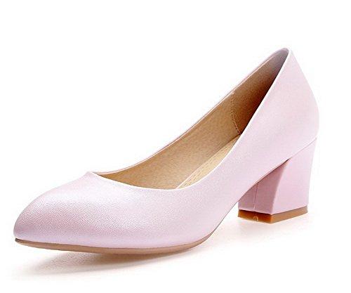 AllhqFashion Damen Mittler Absatz Weiches Material Rein Ziehen auf auf auf Spitz Zehe Pumps Schuhe Pink ec97bb