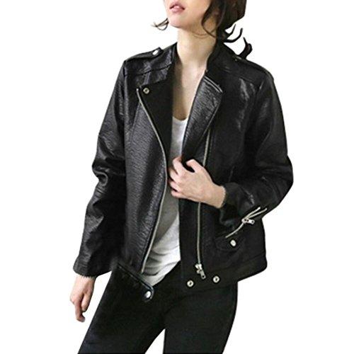 SUKEQ Women Autumn Faux Leather Zipper Motorcycle Biker Bomber Jacket Coat (XX-Large, Black)
