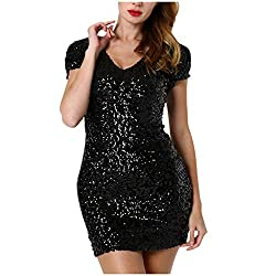 Women's Sequin Glitter Short-Sleeve V-Neck Mini-Dress