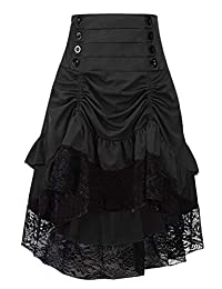 Women Striped Steampunk Gothic Victorian High Low Skirt Black Waist28