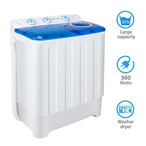 Portable Washing Machine with Spin Dryer and Wash Cycle, Compact twin tub Washer Machines Large Capacity Top Load Laundry for Apartment/Dorm Rooms/RV's, 16.5Lbs Washer & 11lb Spin Capacity
