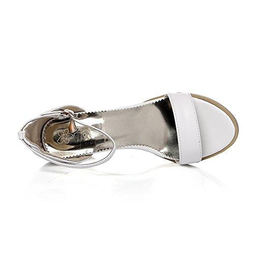 AllhqFashion Mujetes Hebilla Puntera Abierta Tacón ancho Sandalias de vestir con Diamante Blanco