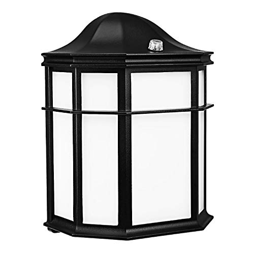 LEONLITE Outdoor Wall Light LED, Dusk to Dawn Photocell, Energy Star & ETL Listed 14W (80W Equiv.) Vintage Style Wall Latern, Exterior Wall Sconce, 3000K Warm White ()