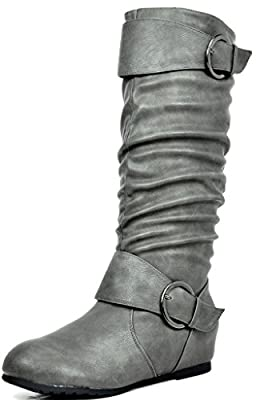 DREAM PAIRS Women's URA Grey Knee High Low Hidden Wedge Boots Size 11 M US