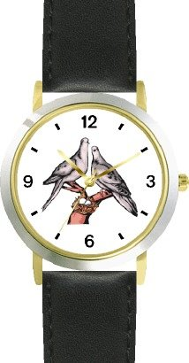 Lovebirds or Love Birds - Love & Friendship Theme - WATCHBUDDY DELUXE TWO-TONE THEME WATCH - Arabic Numbers - Black Leather Strap-Children's Size-Small ( Boy's Size & Girl's Size ) by WatchBuddy