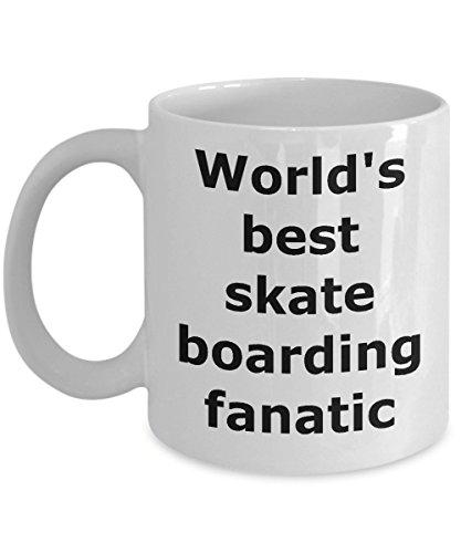 (Sports Coffee Mug Skate Boarding - Gifts for Men Women Boys Dad Fan Birthday Son - Novelty Tea Cup Ceramic - World's best skateboarding fanatic)