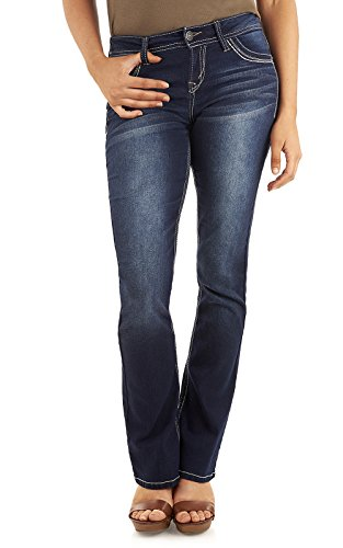 WallFlower Women's Juniors Classic Legendary Stretch Bootcut Denim Jeans in Amy, 9 Long