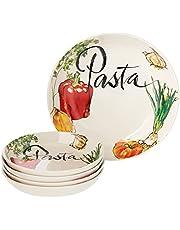Lorren Home Trends PS7 5 Piece Porcelain Pasta Set Vegetable Design, Multicolor