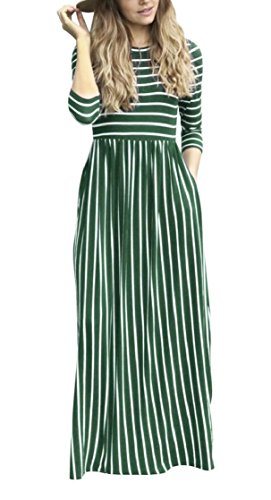 Pocket 3 Casual 4 3 Sleeve Womens Jaycargogo Pinstripe Maxi Fashion Dresses Uq0OYwx