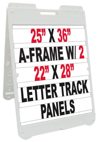 NEOPlex 25'' x 36'' Poly-Plastic Sidewalk Sandwich Board A-frame Sign w/Letter Track Insert Panels and Full Letter Kit