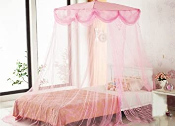 Pink Four Corner Square Princess Bed Canopy By Sid by Sid Trading & Amazon.com: Pink Four Corner Square Princess Bed Canopy By Sid by ...