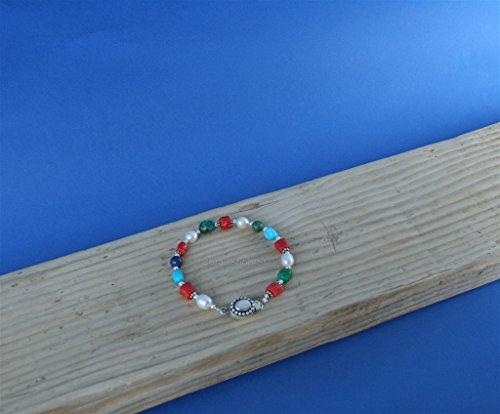 Colorful Multi Gemstone Bracelet ( Turquoise & Lapis Lazuli ), Red Coral Bracelet, White Pearl Bracelet *Exp Shipping (Coral Pearl Bracelet Turquoise)