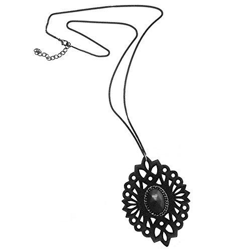 Long collier baroque en cuir noir et perle gainée