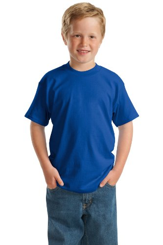 (Hanes Heavyweight 50/50 - 50/50 Cotton/Poly T-Shirt, Youth XS (2-4), Deep Royal)