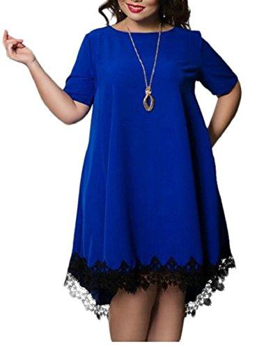 Summer Lace Casual Dress Blue Loose Dress Women's Swing Sleeve Jaycargogo Short n8aTWqP0