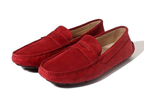 Happyshop (tm) Mens Tillfälliga Äkta Nubuck Läder Mockasin Loafers Kör Sko Slip-on Dagdrivaren Lägenheter Rött