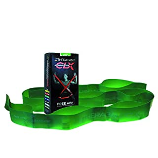 TheraBand CLX Resistance Band with Loops, Fitness Band for Home Exercise and Full Body Workouts, Portable Gym Equipment, Gift for Athletes, Individual 5 Foot Band, Green, Heavy, Intermediate Level 1