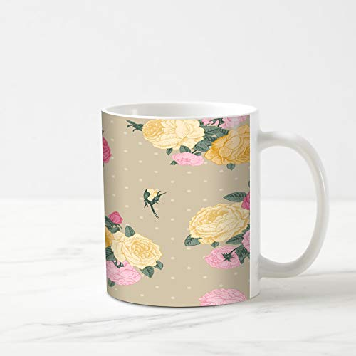 Ahawoso Coffee Tea Mug 11 Ounces Provence Beige Shabby Vintage Floral Pattern Bouquets Romantic Chic Green Flower Blossom Botanical 11Oz Ceramic Tea Cups Gift Great Boss Coworker Friend Present