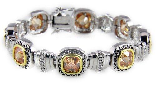 ne Tennis Bracelet CZ Stones Cognac Fashion 2 Tone ()
