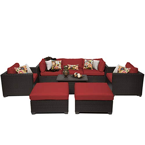 Terra Patio Furniture - TK Classics 8 Piece Belle Outdoor Wicker Patio Furniture Set, Terracotta 08a