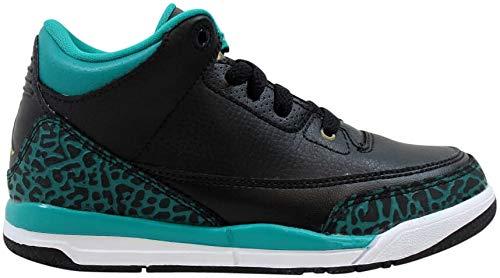 Nike Baby Girls Air Jordan 3 Retro GG Black/Metallic Gold-Teal Leather Size 13.5C (Jordan Retro 13 Infant Shoes)