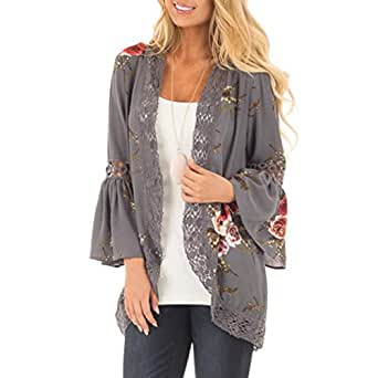 Mujeres Encaje floral abierto kimono blusa suelta Pullover abrigo ,Yannerr invierno primavera gruesa caliente chaqueta sudadera manga larga top jersey capa parka outwear cardigan traje ropa (S)