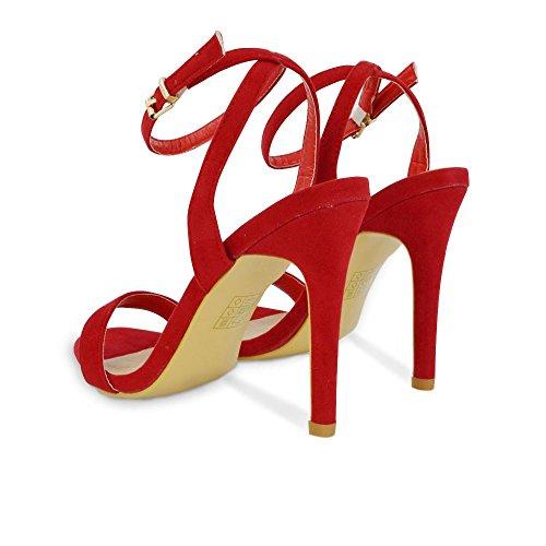 Toe Heel Strap Ankle Red Faux Stiletto Heels Womens ESSEX Sandals GLAM Suede Open atpTT8