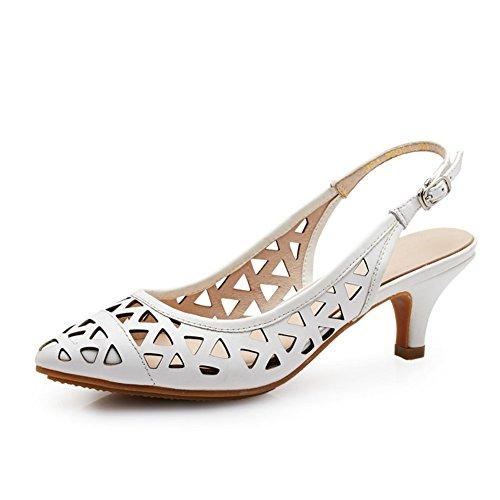 Leder Heels,Stöckelschuhen,ein Wort der Gezeiten Schnalle Die Spitze der Baotou Hohlen Sandalen-B Fußlänge=23.8CM(9.4Inch)