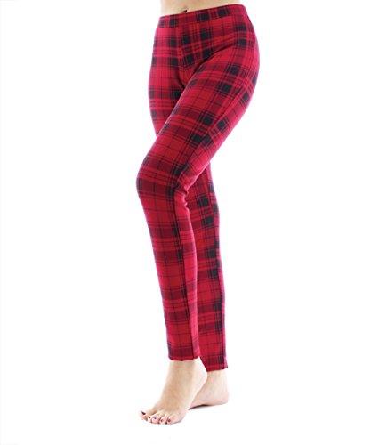SlimMe Full Length Lady Red Plaid Shaping Leggings