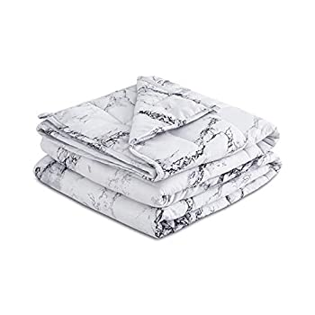 Image of Wake In Cloud - Marble Weighted Blanket, 15 lbs 48'x72', 100% Microfiber Fabric with Glass Beads Filling, Gray Black and White, Suitable for Twin Size Bed, for Individual Adult 120-180 lbs Wake In Cloud B082B68FXZ Weighted Blankets