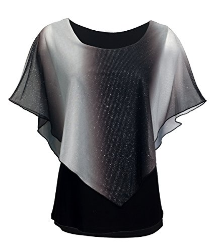 eVogues Plus Size Layered Poncho Top with Glitter Detail Gray - 3X