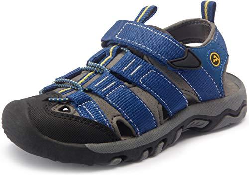 ATIKA Kids Sport Sandals Trail Outdoor Water Shoes, Toe Guard(k307) - Navy & Yellow, 1 Little Kid