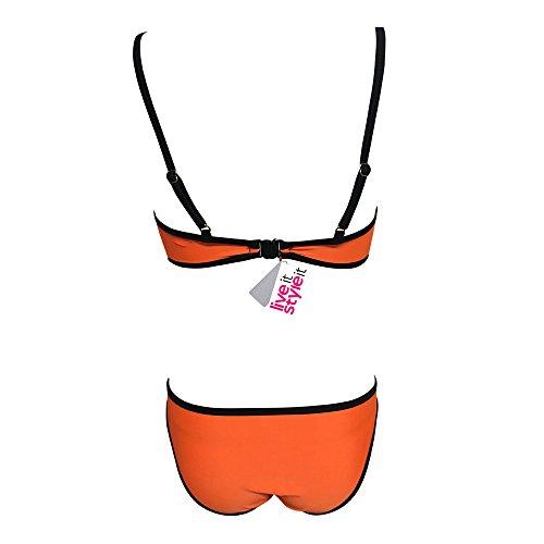 Live It Style It mujeres Bañadores Bikini mujeres neopreno acolchado Bañador vendaje Set Pushup Sexy gama alta y Pantalón De chándal naranja